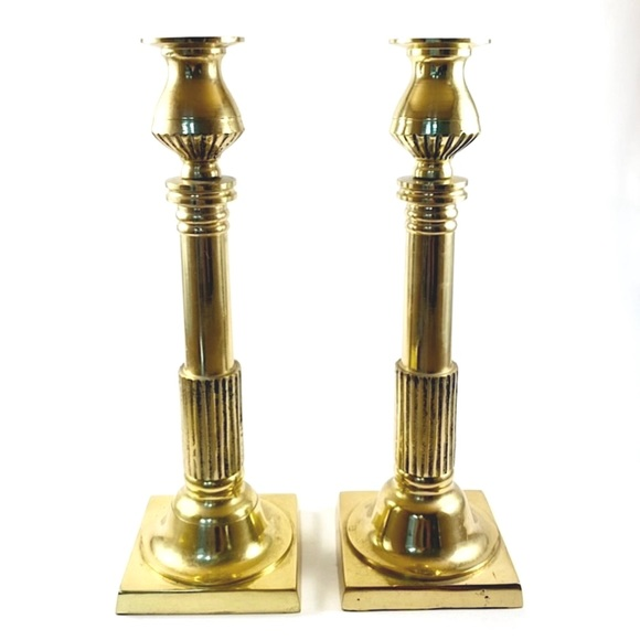 """Pair of 11"""" tall vintage brass candlestick holders"""